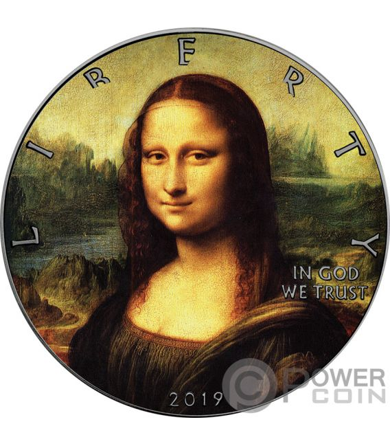 MONA LISA Leonardo Da Vinci Walking Liberty 1 Oz Silver Coin 1$ USA 2019