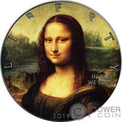 MONA LISA Leonardo Da Vinci Walking Liberty 1 Oz Moneta Argento 1$ US Mint 2019