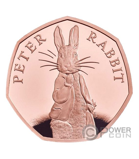 PETER RABBIT Beatrix Potter Gold Coin 50 Pence United Kingdom 2019