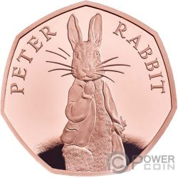 PETER RABBIT Beatrix Potter Moneda Oro 50 Pence United Kingdom 2019