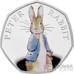 PETER RABBIT Beatrix Potter Moneta Argento 50 Pence United Kingdom 2019