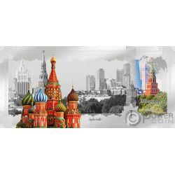 MOSCOW Skyline Dollars Фольга Банкнота Серебро 1$ Острова Кука 2019