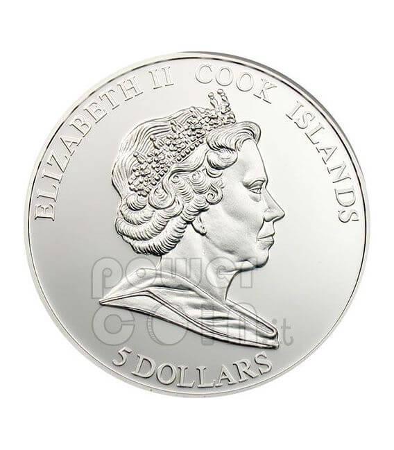 PANSY CLOISONNE Flower Silber Münze 5$ Cook Islands 2009