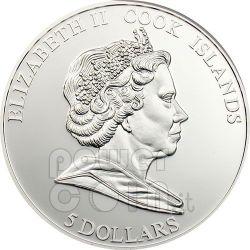 PANSE CLOISONNE Moneta Argento 5$ Cook Islands 2009