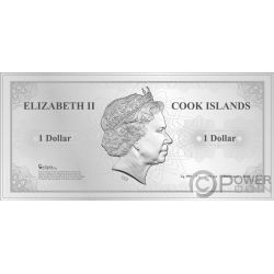 MOSCOW Skyline Dollars Folie Silber Note 1$ Cook Islands 2019