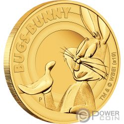 BUGS BUNNY Looney Tunes 1/4 Oz Gold Coin 25$ Tuvalu 2019