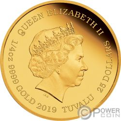 BUGS BUNNY Looney Tunes 1/4 Oz Moneda Oro 25$ Tuvalu 2019