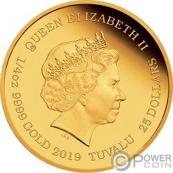BUGS BUNNY Looney Tunes 1/4 Oz Moneta Oro 25$ Tuvalu 2019