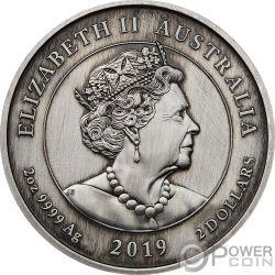 QUEEN VICTORIA Camafeo 200 Aniversario 2 Oz Moneda Plata 2$ Australia 2019