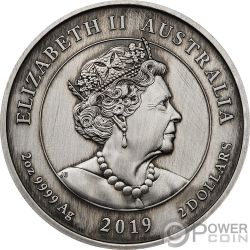 QUEEN VICTORIA Cameo 200 Anniversario 2 Oz Moneta Argento 2$ Australia 2019