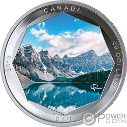 MORAINE LAKE Lago Foto Peter McKinnon 2 Oz Moneda Plata 30$ Canada 2019