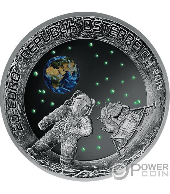MOON LANDING 50 Юбилей Монета Серебро 20€ Евро Австрия 2019