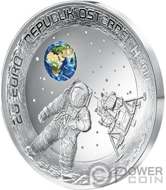 MOON LANDING 50th Anniversary Silver Coin 20€ Euro Austria 2019
