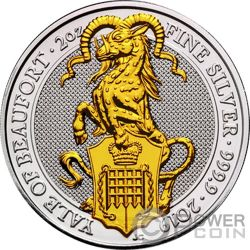 YALE Eale Queen Beasts Dorada 2 Oz Moneda Plata 5£ United Kingdom 2019