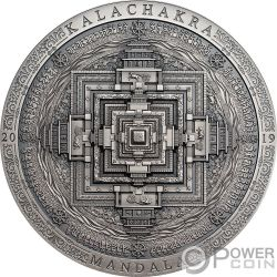 KALACHAKRA MANDALA Archeology Symbolism 3 Oz Silver Coin 2000 Togrog Mongolia 2019