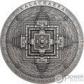 KALACHAKRA MANDALA Archeology Symbolism 3 Oz Moneta Argento 2000 Togrog Mongolia 2019