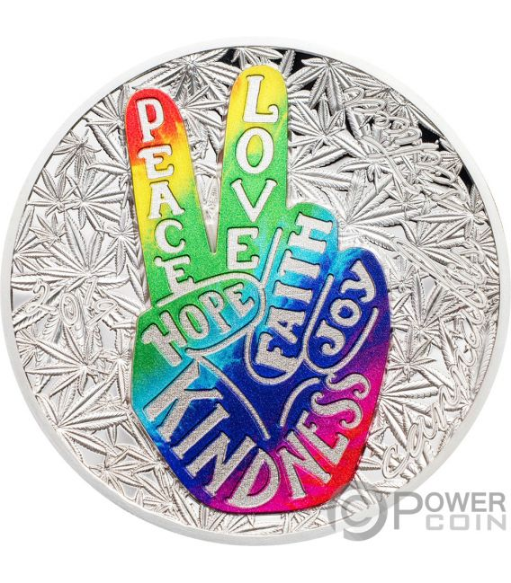 PEACE AND LOVE Peace 1 Oz Silver Coin 1000 Francs Benin 2019