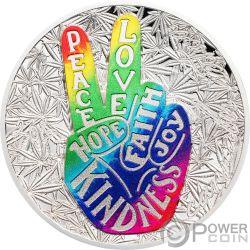 PEACE AND LOVE Amor Paz 1 Oz Moneda Plata 1000 Francos Benin 2019