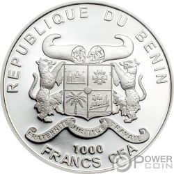 PEACE AND LOVE Amor Paz 1 Oz Moneda Plata 1000 Francos Benin 2019