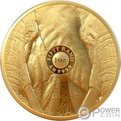 ELEPHANT Слон Big Five 1 Oz Монета Золото 50 Рэнд Южная Африка 2019