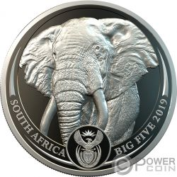 ELEPHANT Elefante Big Five 1 Oz Moneda Platino 20 Rand South Africa 2019