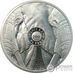 ELEPHANT Elefante Big Five 1 Oz Moneta Platino 20 Rand South Africa 2019