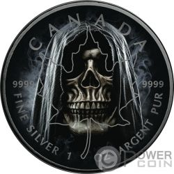 SMOKE GRIM REAPER Muerte Maple Leaf 1 Oz Moneda Plata 5$ Canada 2018