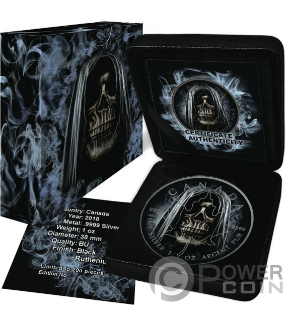 Smoke Grim Reaper Death Maple Leaf 1 Oz Silver Coin 5