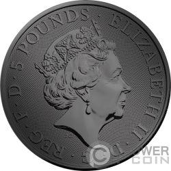 FALCON QUEEN BEASTS Golden Ruthenium 2 Oz Серебро Монета 5£ Великобритания 2019