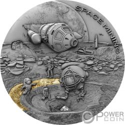 SPACE MINING II Extraccion Estacion Espacial 1 Oz Moneda Plata 1$ Niue 2019