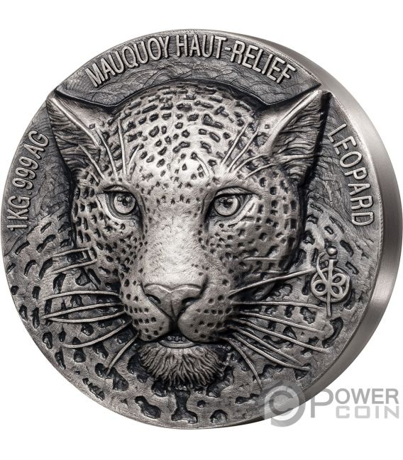 LEOPARD Big Five Mauquoy 1 Kg Kilo Silver Coin 10000 Francs Ivory Coast 2019