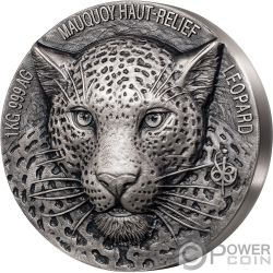 LEOPARD Leopardo Big Five Mauquoy 1 Kg Kilo Moneda Plata 10000 Francos Ivory Coast 2019