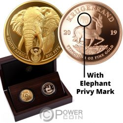 BIG FIVE With Privy Elephant Krugerrand Set 2x1 Oz Monete Oro 51 Rand South Africa 2019