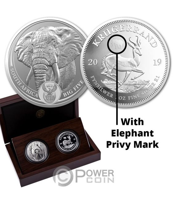 BIG FIVE With Privy Elephant Krugerrand Set 2x1 Oz Silver Coins 6 Rand South Africa 2019