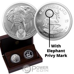 BIG FIVE With Privy Elephant Krugerrand Set 2x1 Oz Silver Coins 6 Rand South Africa 2019