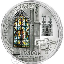 WINDOWS OF HEAVEN LONDRA Abbazia Westminster Moneta Argento 10$ Cook Islands 2011