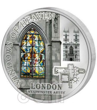 WINDOWS OF HEAVEN LONDRA Abbazia Westminster Moneta Argento 10$ Cook Islands 2011
