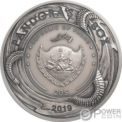 PANDORA BOX Зло внутри EHR Высокий рельеф 3 Oz Монета Серебро 20$ Палау 2019