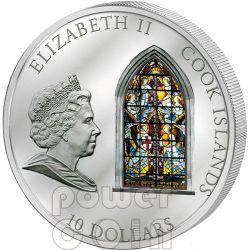WINDOWS OF HEAVEN LONDON Westminster Abbey Moneda Plata 10$ Cook Islands 2011