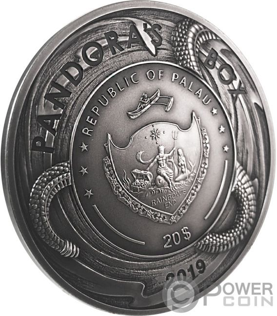 PANDORA BOX Caja Evil Within EHR Epic High Relief 3 Oz Moneda Plata 20$ Palau 2019