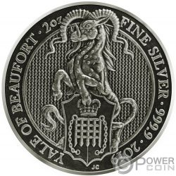 YALE Eale Queen Beasts Acabado Antiguo 2 Oz Moneda Plata 5£ United Kingdom 2019