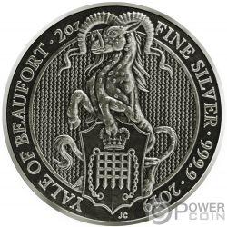 YALE Queen Beasts Vergoldet Antik Finish 2 Oz Silber Münze 5£ United Kingdom 2019