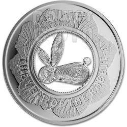 RABBIT FILIGREE Lunar Year Cabbage Garden Moneda Plata 1$ Fiji 2011