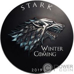 STARK Winter Coming Game of Thrones GOT Walking Liberty 1 Oz Silver Coin 1$ US Mint 2019