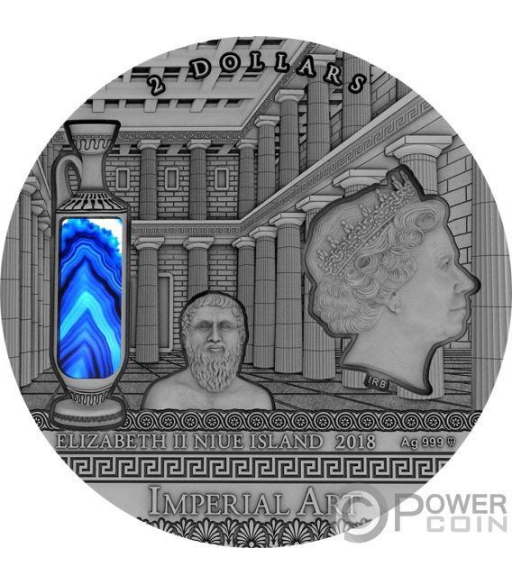 GREECE Grecia Imperial Art 2 Oz Moneta Argento 2$ Niue 2018