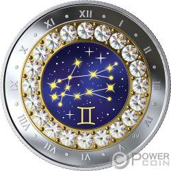 GEMINI Gemelli Zodiac Swarovski Crystal Moneta Argento 5$ Canada 2019