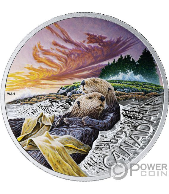 SEA OTTER Фауна 1 Oz Серебро Монета 20$ Канада 2019