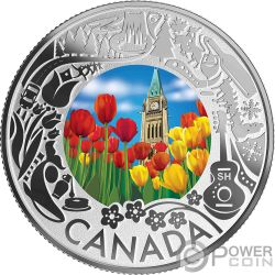 TULIPS Tulipanes Fun and Festivities Moneda Plata 3$ Canada 2019