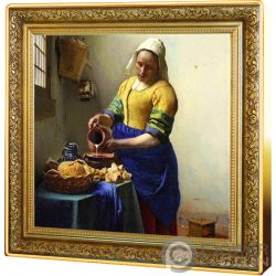 MILKMAID Mungitrice Vermeer Treasures of World 1 Oz Moneta Argento 1$ Niue 2019