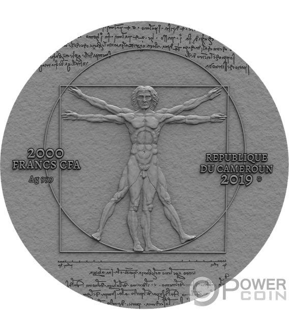 LEONARDO VINCI 500th Anniversary 2 Oz Silver Coin 2000 Francs Cameroon 2019